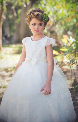 Flower Girl dress, lace flower girl dress,white flower girl dress, white lace dress, ,Vintage First communion lace dress