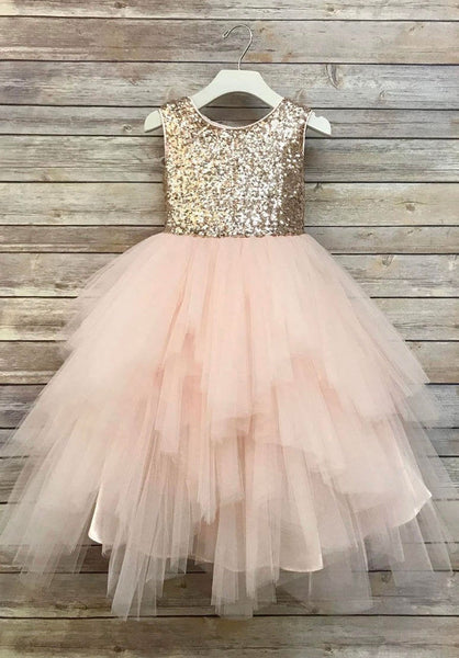 Sequin Top Flower Girl Glam Dress Blush, Rose Gold/ Champagne  and Ivory Gold Sequin Top Dress rose gold sequin top dress big bow