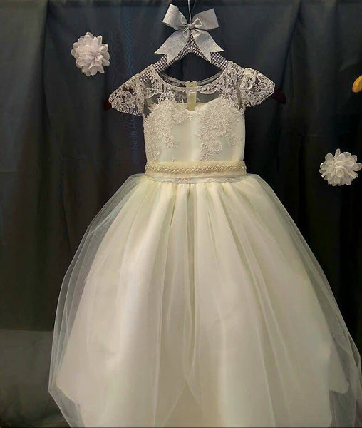Lace cap sleeve flower girl dress first communion lace baptism blessing dress white lace custom colors available sizes 6m to 20 available
