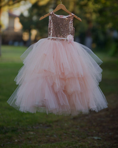 Mia Dress - Sequin and tulle tiered dress flowergirl blush, rose gold top blush tulle girls size 2-16
