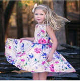 Floral Easter spring dress toddler girls sunday best spring flower girl dress royal blue pageant