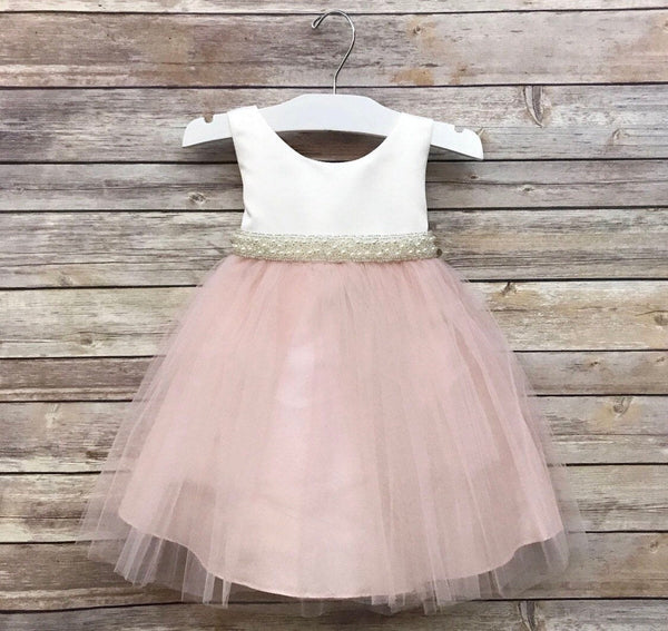 Simple Satin and Tulle Flower Girl Dress with Pearl belt 6m to size 16 blush dress Champagne flower girl Baptism dress