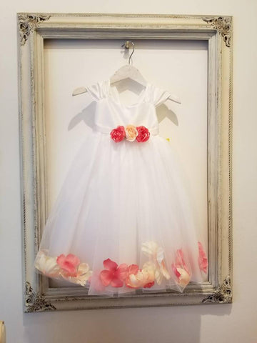 Flower Girl Petal Dress classic flower girl white, ivory, pink coral