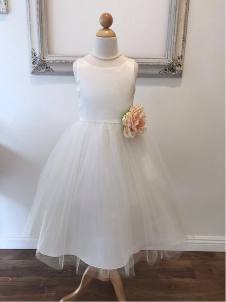 Harper Dress Simple Satin and Tulle Flower Girl Dress with Flower 6m to size 16 all white or ivory dress Champagne flower girl Baptism dress