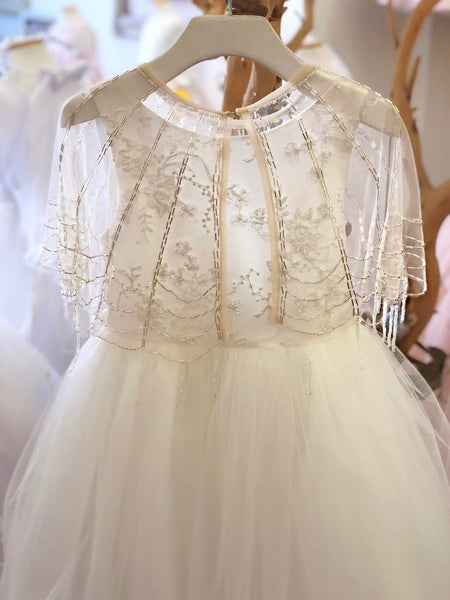 Elegant beaded cover up tulle bolero shrug wrap Capelet beaded shrug Cover up Bolero Flower Girl Sequins cape jacket