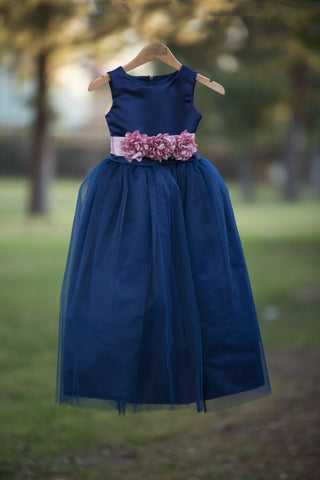 Celeste Dress Navy Flower girl dress with rose flower belt.