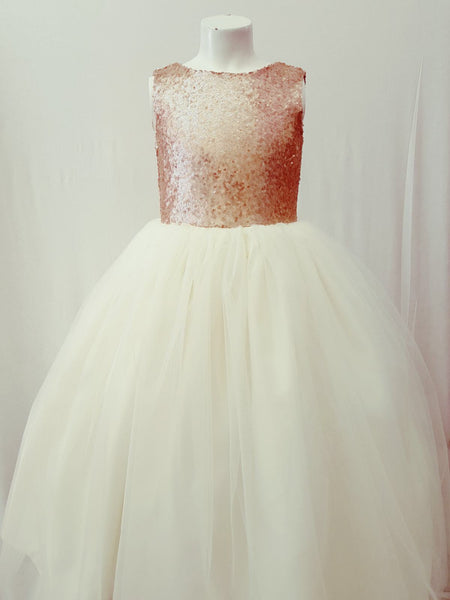 Champagne and ivory gold flower girl dress tulle skirt formal rose sequin dress sizes 6m to 20 jr bridesmaid dress elegant simple dress
