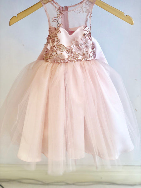 Isabella Dress Lace Sequin blush pink flower girl dress tulle skirt formal rose sequin dress sizes 6m to 20 sweetheart top champagne dusty