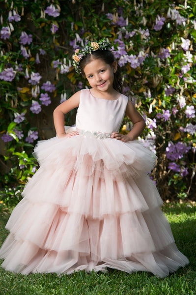 Olivia Dress- Multi Tiered Poofy Flower Girl Special Occasion Dress Multiple Colors Available Rhinestone Belt Sash Blush Pink Champagne