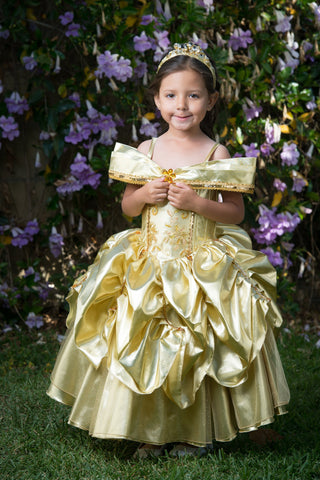Princess Belle Costume Dress, cosplay kids, disney princess dress gold beauty and the beast dress belle formal disney cruise ballgown belle