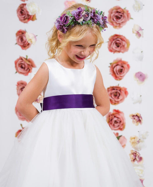 Madison Dress - Classic customizable satin and illusion flower girl dress. Dress available in white or ivory Satin sash with big bow