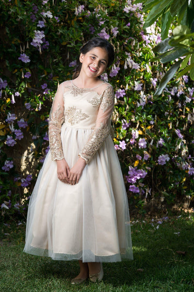 Sammi Dress- long sleeves lace flower girl formal dress- champagne long sleeve gold wedding jr bridesmaid, embroidered lace sequin rose