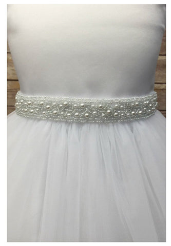 Pearl Belt Sash- flower girl sash, dress sash wedding bridal