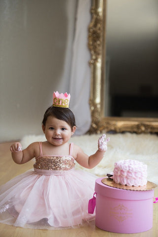 First Birthday cake smah rose Gold and Pink Sparkle Princess Tutu Outfit; rose Gold and Pink Birthday tulle tutu dress; Toddler Sparkle Gold