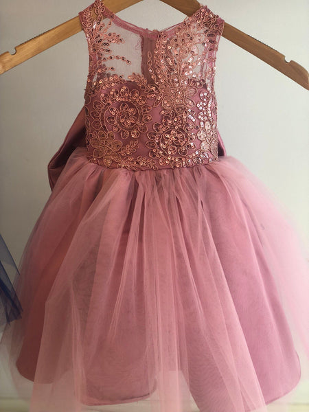 Lena Dress- Sequin Sheer Lace bow tutu dress princess dress birthday dress blue dress flower girl couture dress gold champagne pink rose