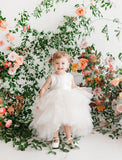 Vanessa Dress - Hi low tulle dress flower girl color sash custom colors jr bridesmaid baby tulle poofy white ivory classic birthday special