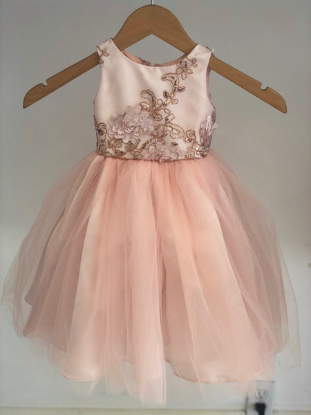 Rosemary Dress Lace Sequin blush pink flower girl dress tulle skirt formal rose sequin dress sizes 6m to 20