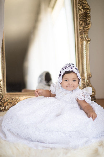 Heirloom Baptism Christening Blessing Gown Dress white or ivory traditional dress 2 piece