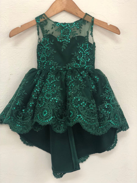 Guiliana Dress- Holiday Dress Hunter Green Emerald Green, Flower girl dress jr bridesmaid Christmas dress navy burgundy gold baby toddler