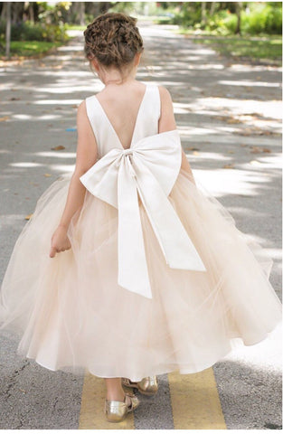 Oversized bow Flower girl dress special occasion big bow back sash champagne or ivory fancy girl pageant dress girls mauve dusty rose