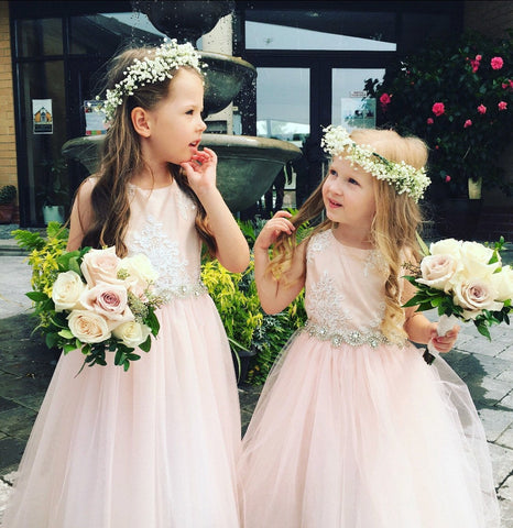 Blush Lace Rhinestone sash flowergirl, comes in white ivory champagne.sizes 1-10 available