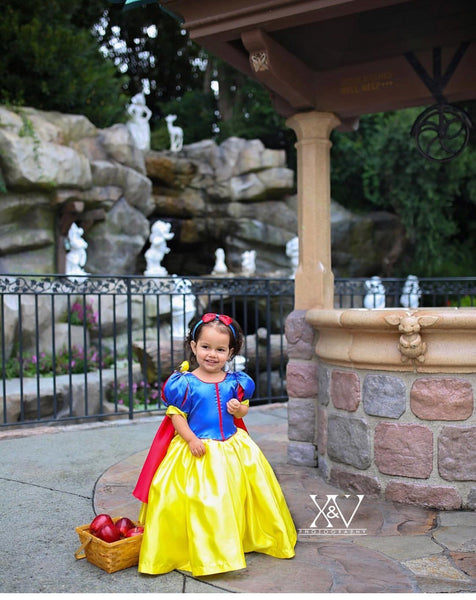 Princess Snow White Inspired Dress, Cosplay costume princess birthday dress snow white blanca nieve vested de princessa disney dress up
