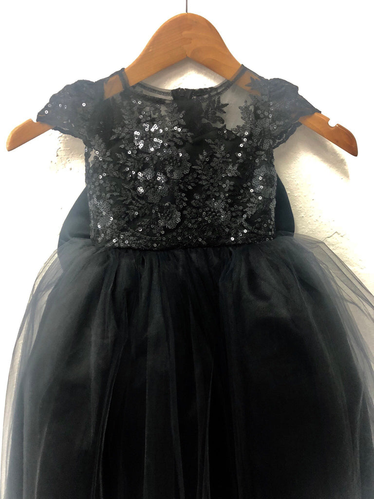 939cdc0a7 Nora Dress- Sequin Sheer Lace bow tutu dress princess dress birthday d –  Little Livey