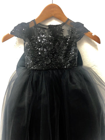 Nora Dress- Sequin Sheer Lace bow tutu dress princess dress birthday dress blue dress flower girl couture dress gold champagne black