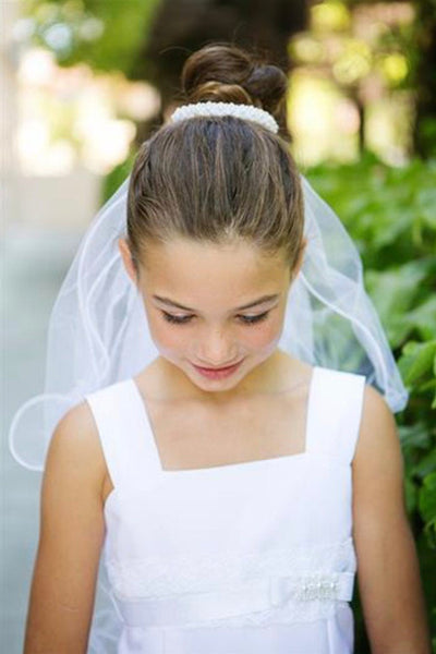 First  Holy Communion Wedding Pearl Bun  edged white tulle Veil attached Bride