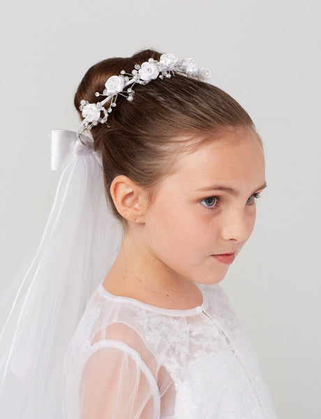 First Holy Communion Wedding flower Bun edged white tulle Veil attached Bride