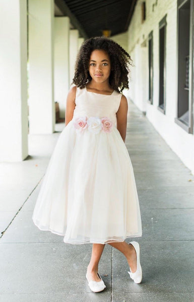 Jasmine Dress - flower girl dress flower sash classic vintage rose ivory white baby toddler flower girl jr bridesmaid dress wedding