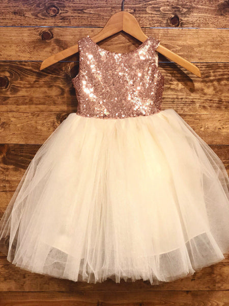 Salina Dress- Sequin Rose gold cream ivory flower girl dress tulle skirt formal rose sequin dress special occasion dress jr bridesmaid fancy