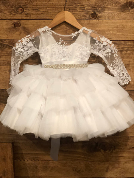 Dalilah Dress- lace long sleeve christening baptism dress first communion gown dress special occasion flower girl wedding dress