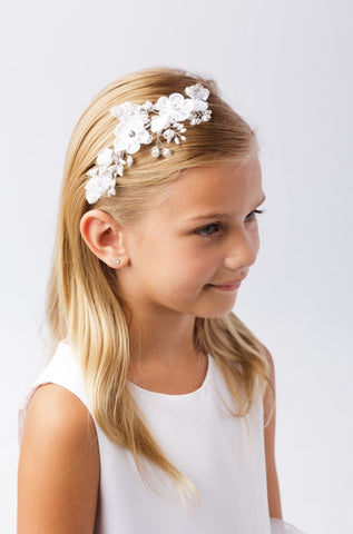 Flower girl headband bride hair piece mini bride baptism first communion hairpiece accessory flower crown white classic simple