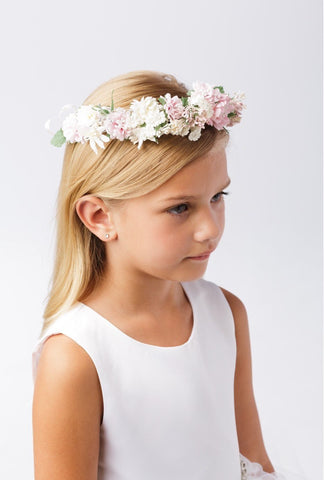 Flower girl crown headpiece artificial flower crown, crown, headpiece, , hairpiece, tulle, tiara, girls tiara, flower decorated tiara, blush