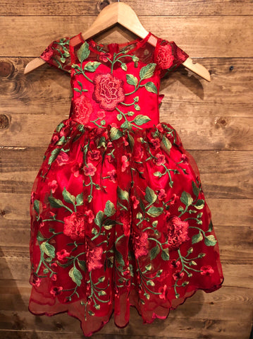 Valentina Dress- Embroidered Floral lace spanish theme dress red mexican fiesta dress presentation third birthday first birthday fiesta
