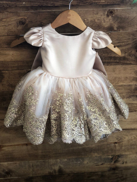 Sophia Dress -champagne gold flower girl dress birthday special occasion dress rose gold wedding lace trim skirt fancy