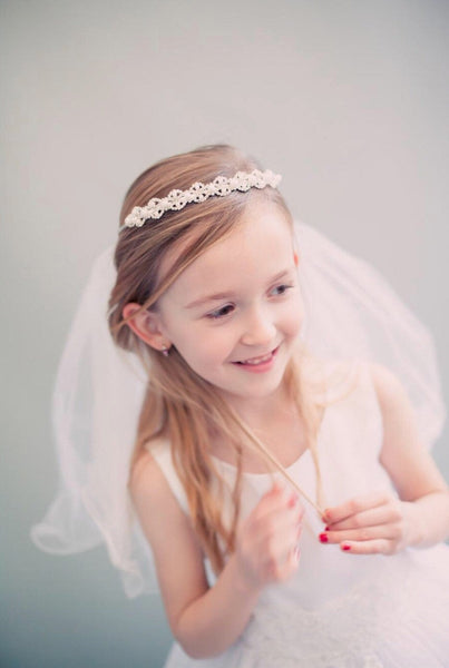 Pearl crystal crown with veil Holy communion veil, communion headband, first communion, flowergirl veil simple hair accessories communion