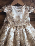 Elise Dress- girls lace dress flower girl dress champagne gold ivory lace dress birthday baptism dress outfit special occasion dress baby