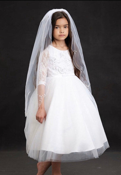 First communion veil beaded edge, communion accessories veil bridal