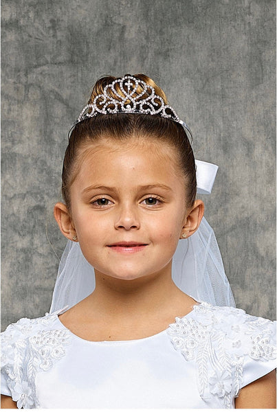 First Communion Tiara Crown with Veil, Rhinestone Cross Crown, First Communion Heapiece Headband 1st communion Veil Communion Dress