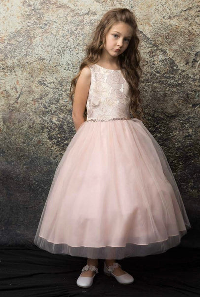 Natalia Dress- blush flower girl dress champagne dress jr bridesmaid dress rosegold special occasion dress flowergirl dress blush