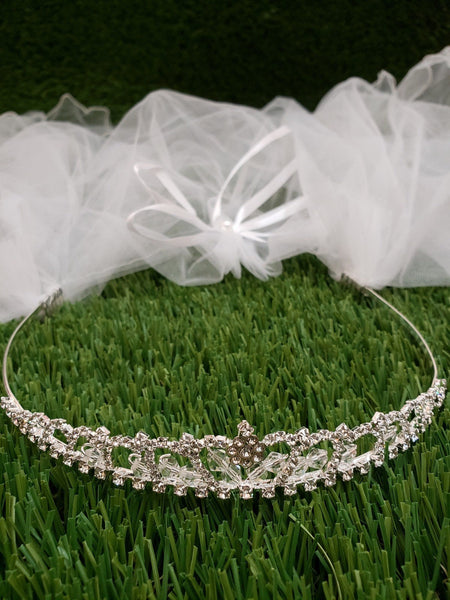First Communion Tiara Veil, communion headpiece, holy communion crown headband communion veil rhinestone