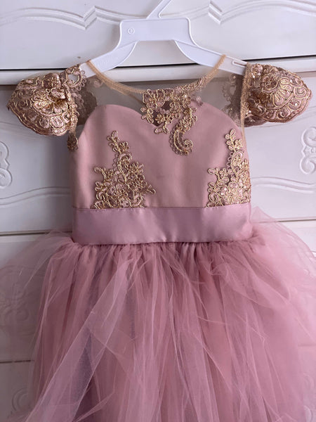 Shayla Dress - Rose gold Mauve Girls Flowergirl Dress Special Occasion, jr bridemaid infant dress girls flower girl mauve dress rose gold