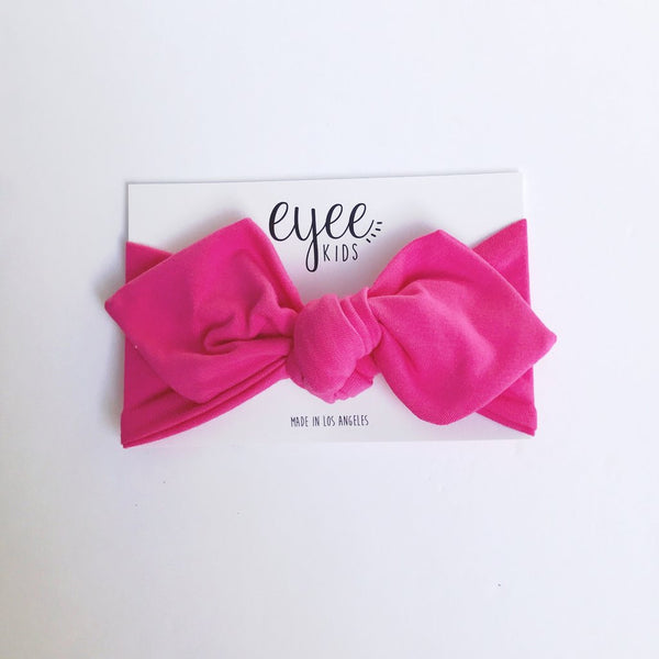 Pink top knot baby headband