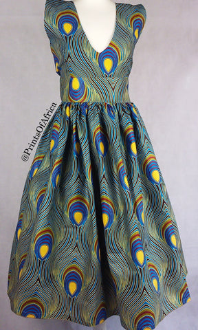 Blue Peacock Dress (US 14/UK 16)