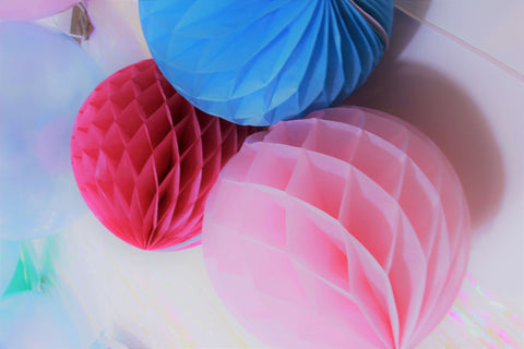 Pink, Blue and Hot Pink Honeycomb Balls