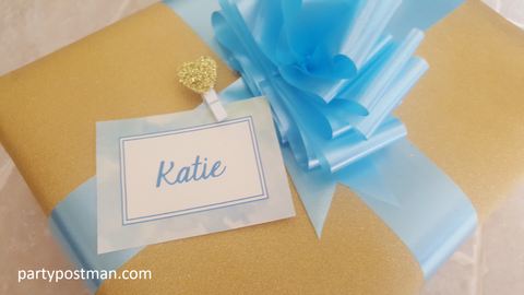 gold and blue gift wrapping