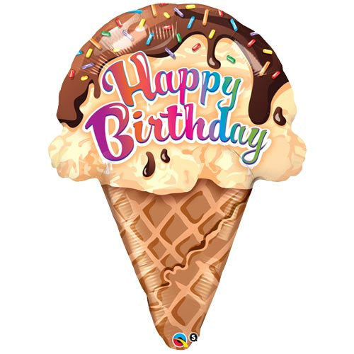 "27"" Birthday Ice Cream Cone Foil Balloon - The Party Postman"
