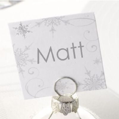 Silver Christmas Bauble Place Name Card Holders Winter Wedding Table Decoration - The Party Postman